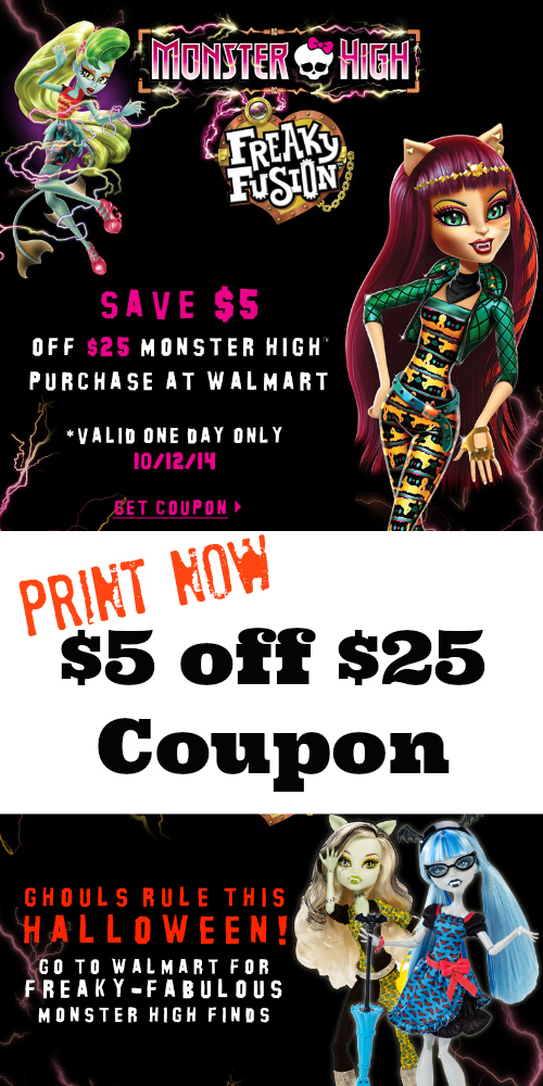 $5 off $25 MONSTER HIGH® at Walmart on Oct. 12