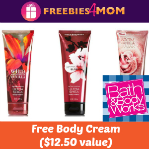 Free Bath & Body Works Body Cream w/any purchase