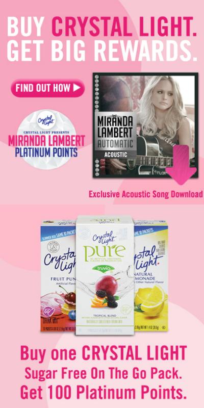 Earn Rewards from Crystal Light:  Miranda Lambert Platinum Points