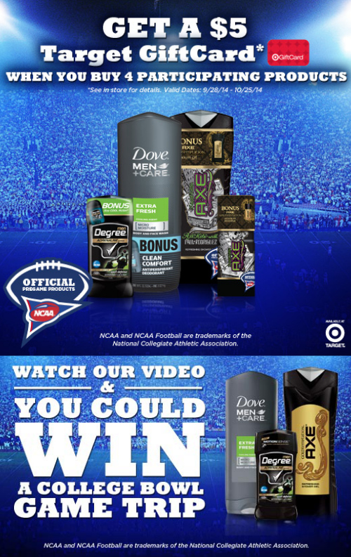 Win a College Bowl Game Trip ~ $5 Target Gift Card Offer