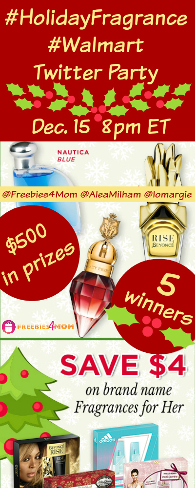 $500 in Prizes at #HolidayFragrance #Walmart Twitter Party Dec. 15 8pm ET
