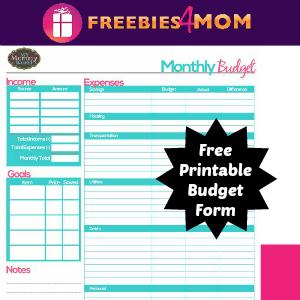Free Printable Household Budget Form