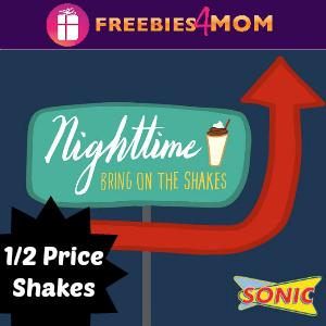 Sonic 1/2 Price Shakes After 8 Thru Summer