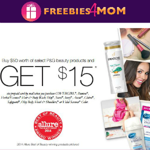 Rebate: Buy $50 of P&G Beauty Products Get $15