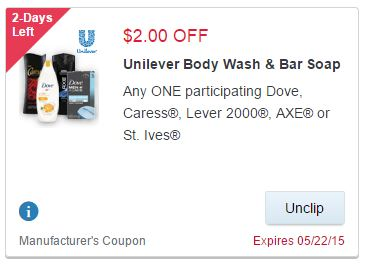 $2.00 Coupon for Axe, Caress, Dove, Dove Men+Care, Lever 2000 at Walgreens
