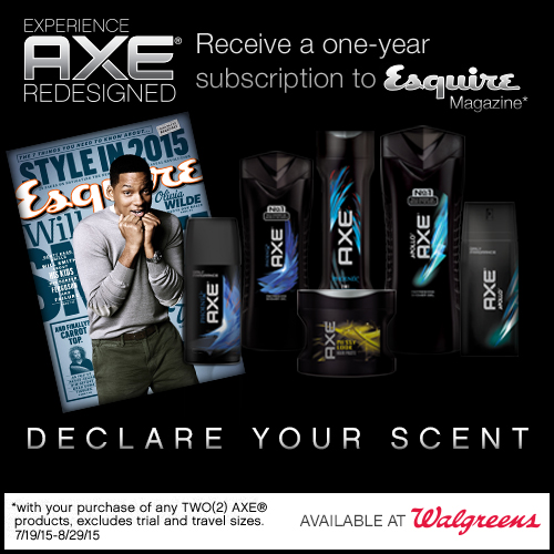 Free Esquire Magazine ($15 value) when you buy 2 AXE at Walgreens