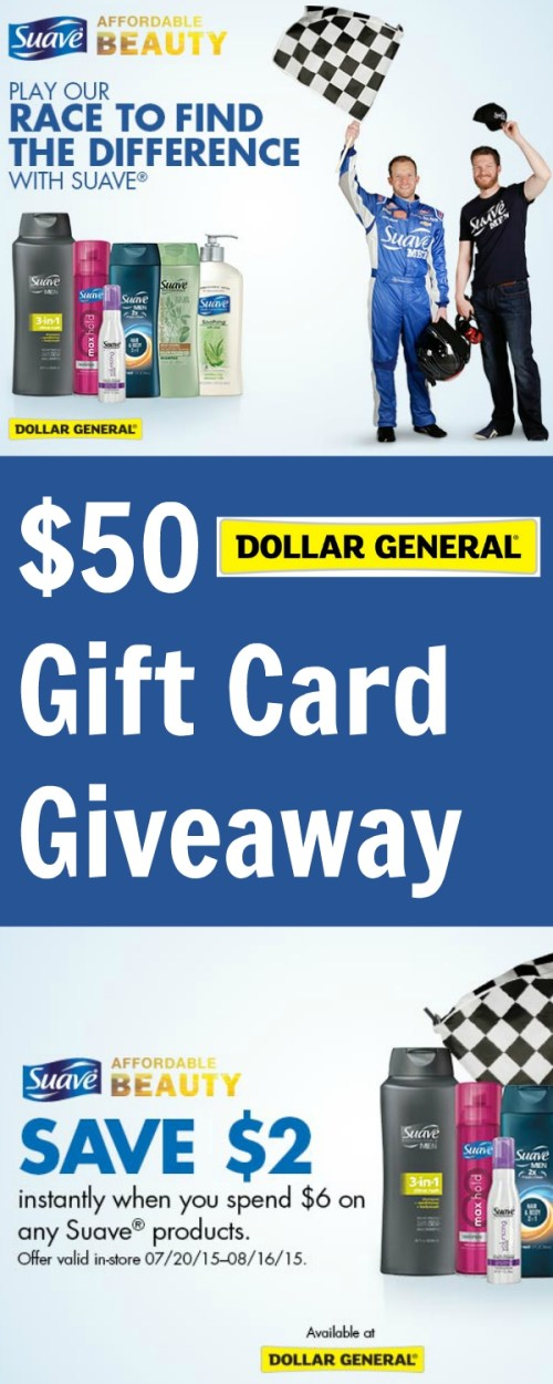 $50 Dollar General Gift Card Giveaway ~ Save $2 on Suave®