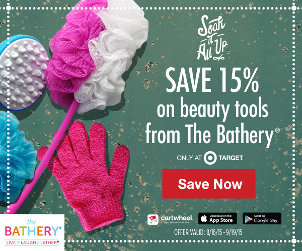 Save 15% off The Bathery beauty tools at Target with Cartwheel