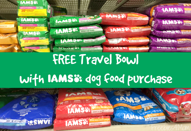 Free Travel Bowl with IAMS dog food or dog treat purchase