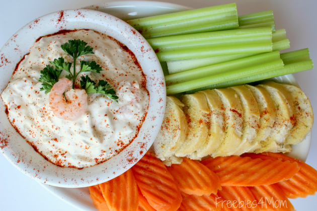 Super Shrimp Sriracha Dip with celery sticks, carrot chips and garlic bread baguette