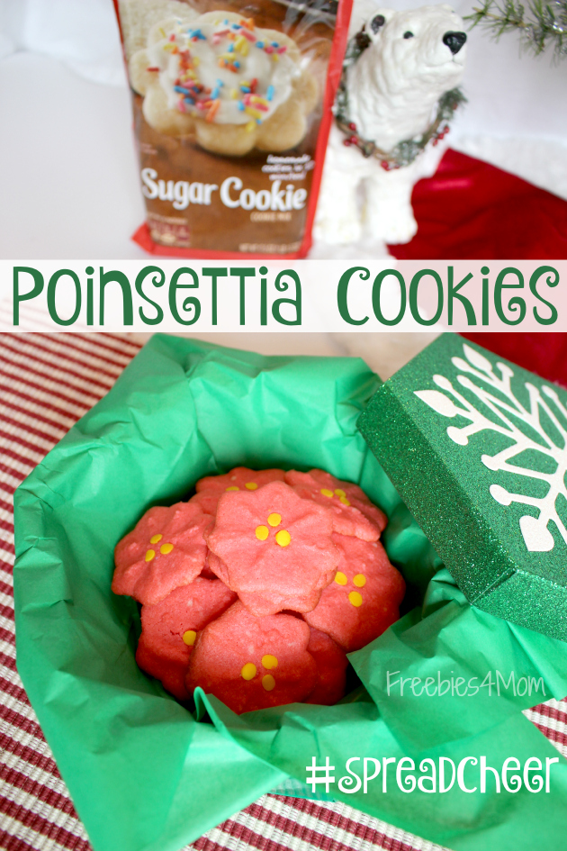 Poinsetta Cookies ready to gift to friends to #SpreadCheer