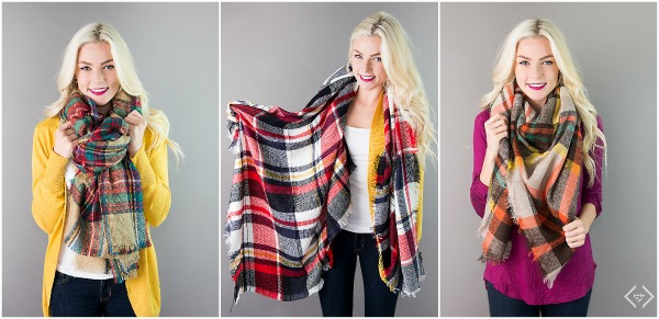 $15.95 Plaid Blanket Scarves