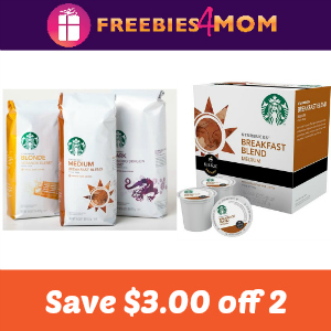 Coupon: $3.00 off 2 Starbucks Coffee or K-Cups