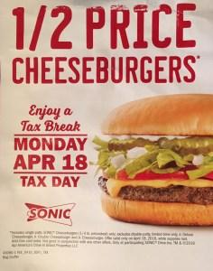 1/2 Price Cheeseburgers at Sonic April 18