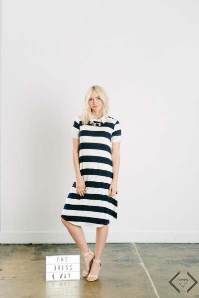 Striped Swing Dress for $27.95 + Free Bracelet