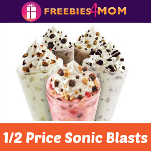 1/2 Price Sonic Blasts July 27