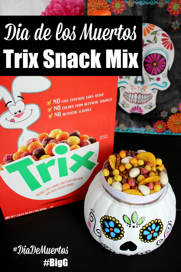 Trix Snack Mix Recipe & DIY Sugar Skull Pumpkins for Dia de los Muertos