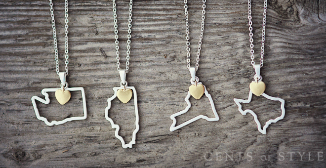 State Necklaces 2 for $15 ($50 Value)