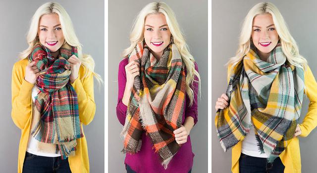 Plaid Blanket Scarves $12.95