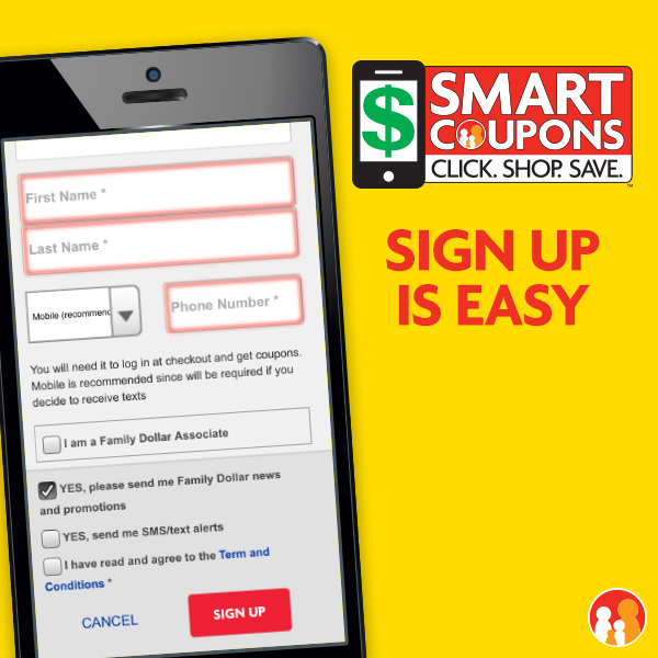 Smart Coupons at Family Dollar: Sign Up is Easy