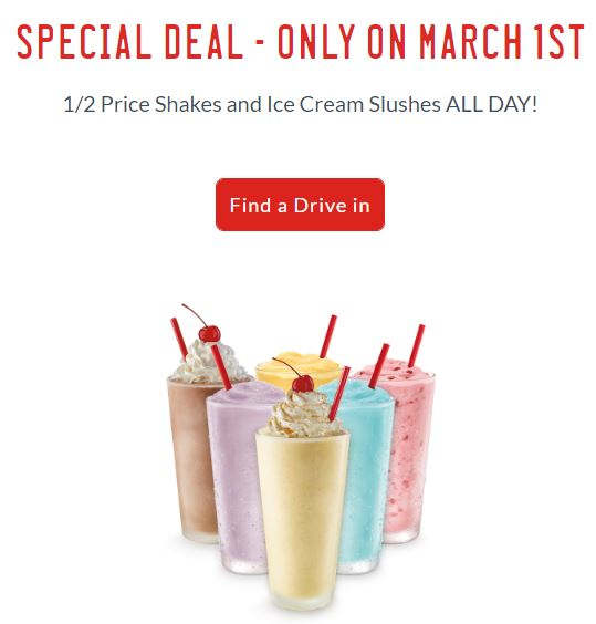 1/2 Price Shakes & Ice Cream Slushes at Sonic