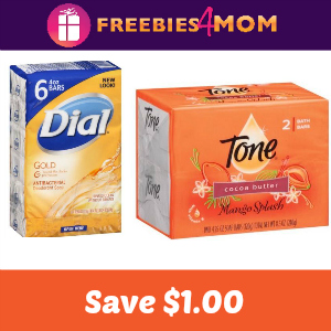 Save $1.00 on Dial or Tone Body Wash or Bars