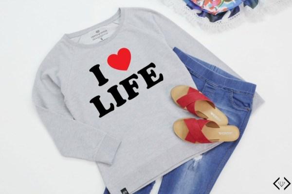 45% off I Love Life Sweatshirt
