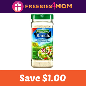 Coupon: $1.00 on Hidden Valley Ranch Shaker