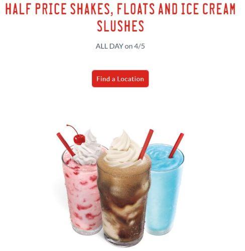 Sonic 1/2 Off Shakes, Floats & Ice Cream Slushes
