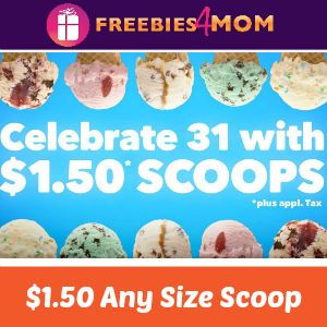 $1.50 Scoops at Baskin-Robbins May 31
