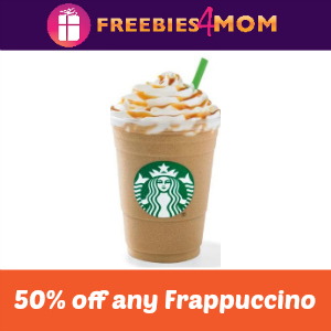 50% off a Frappuccino at Starbucks Sept. 6