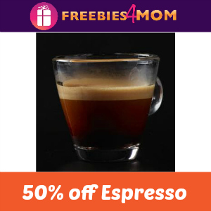 50% off an Espresso at Starbucks Sept. 20