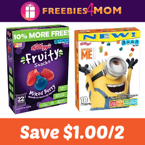 Coupon: $1.00 off 2 Kellogg's Fruit Snacks