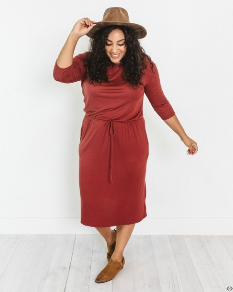 3/4 Sleeve Midi Dress $21.99