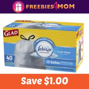 Coupon: Save $1.00 on Glad Trash Bag (13 gal)