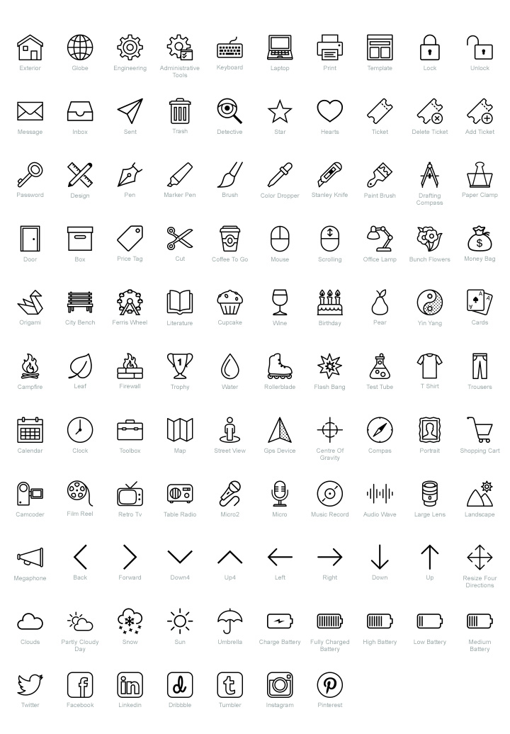 100 free psd icons