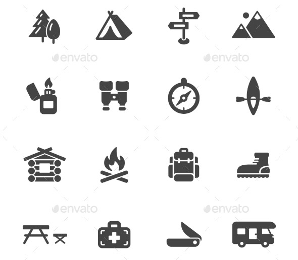 20 Cool Camping Icons Sets
