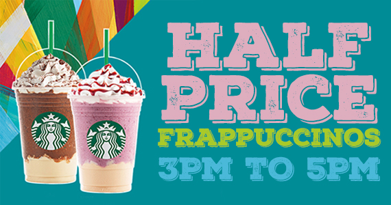 1/2 Price Starbucks Frappuccinos From 3-5pm