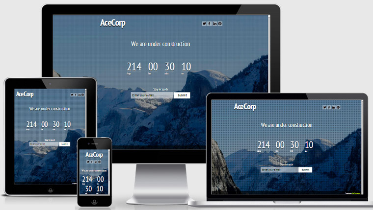 Ace : Free Responsive Coming Soon Template