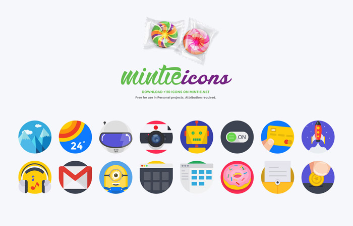 Mintie : Flat Icon Set (Free Version)
