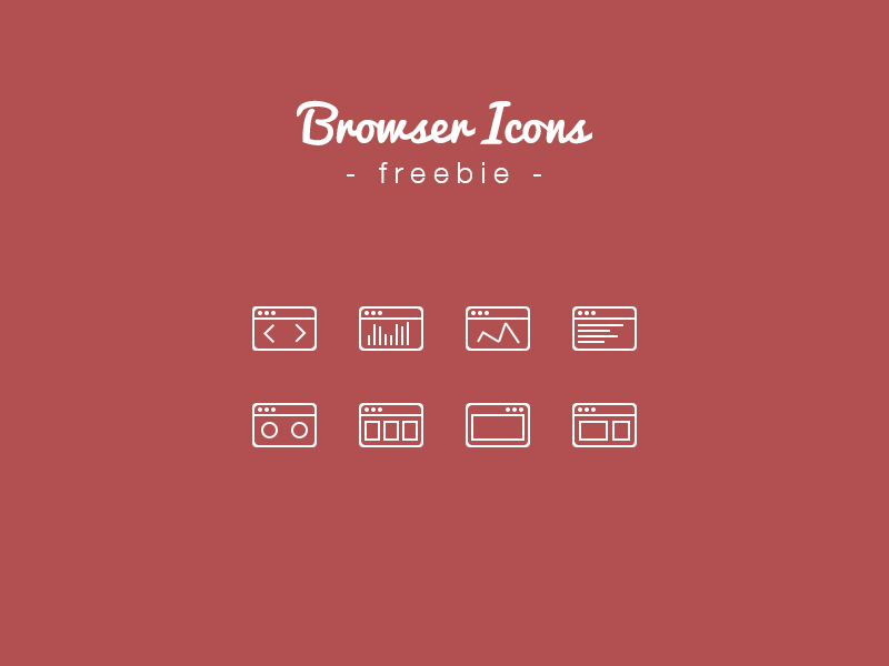 Outline Web Browser Icons PSD