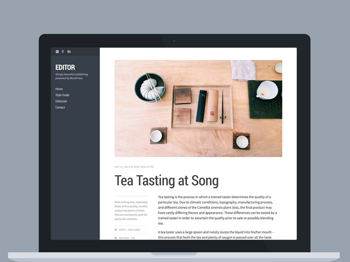 Editor : Responsive Typographic WordPress Theme