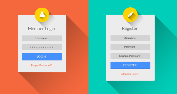 Flat Login & Register UI PSD with Long Shadow Style