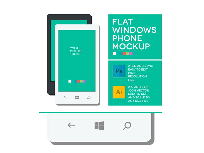 Free Flat Windows Phone Mockup