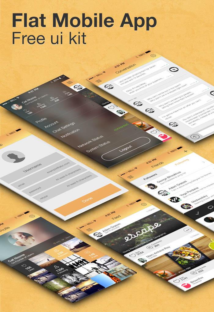 Free Flat Mobile App UI Kit