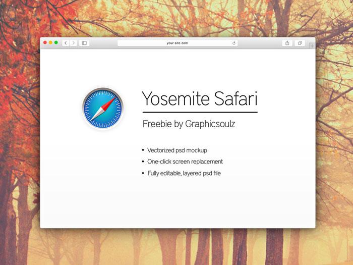 Safari OS X Yosemite browser mockup