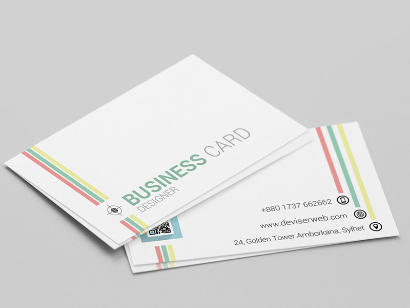 Clean and Colorful Line Business Card Template