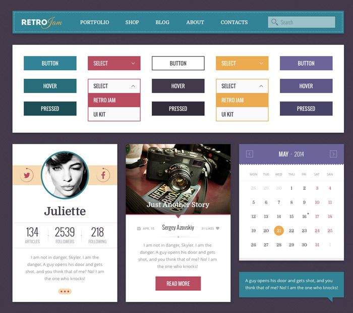 Retro Jam Ui Kit PSD