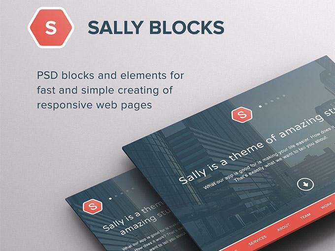 Sally Blocks Free Psd UI Kit