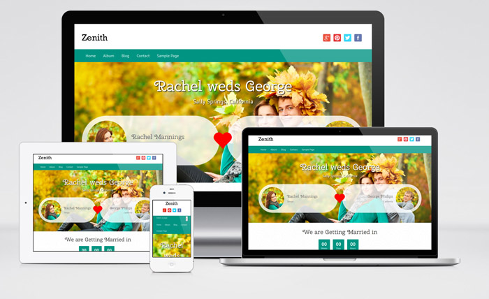 Zenith : Free Responsive Wedding WordPress Theme